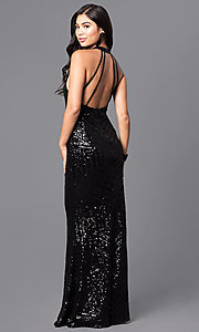 Image of long black sequin prom dress with open back. Style: MT-8188 Front Image