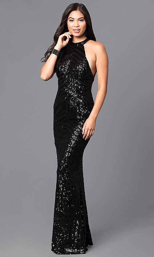 Black Sequin Long Open-Back Prom Dress - PromGirl