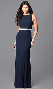 Image of long navy blue jersey prom dress with sheer back. Style: MT-7669 Front Image