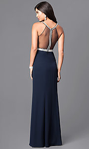 Image of long navy blue jersey prom dress with sheer back. Style: MT-7669 Back Image