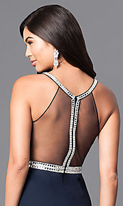 Image of long navy blue jersey prom dress with sheer back. Style: MT-7669 Detail Image 1