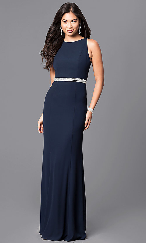 e3879ea6c40 Image of long navy blue jersey prom dress with sheer back. Style  MT-