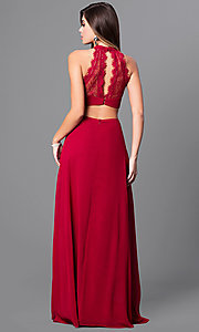 Image of high-neck long prom dress with lace bodice. Style: MT-8149 Back Image