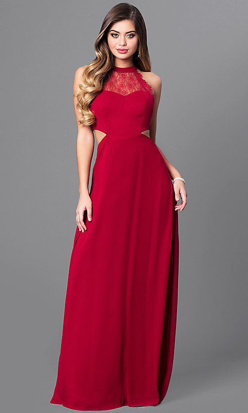 Image Of High Neck Long Prom Dress With Lace Bodice Style Mt