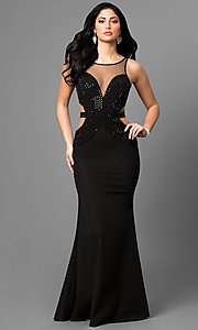 Long Black Prom Dress with Studded Illusion V-Neck
