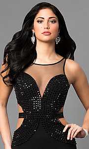 Image of long black prom dress with studded illusion v-neck. Style: MT-8295 Detail Image 1