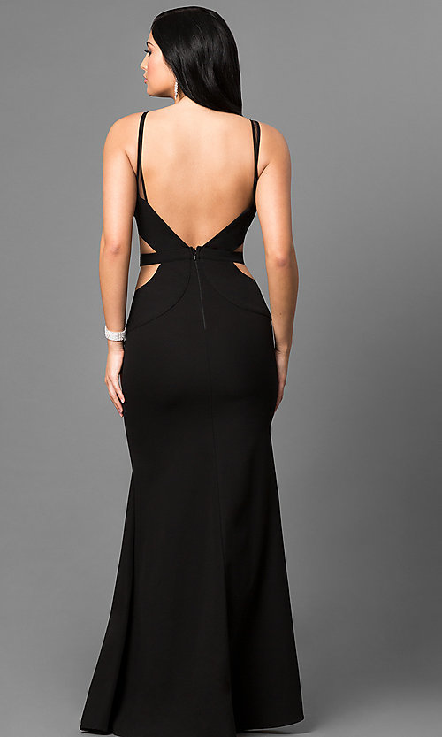 Image of long black prom dress with studded illusion v-neck. Style: MT-8295 Back Image