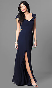 Image of long navy blue chiffon tie-back prom dress with slit. Style: MT-8172 Front Image