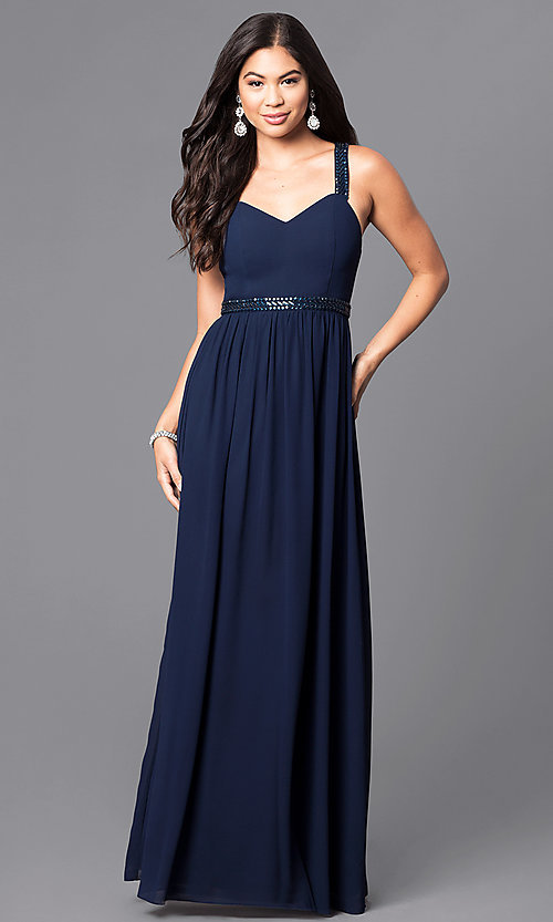 Image of v-neck long prom dress with multi-strap back. Style: MT-8058 Back Image