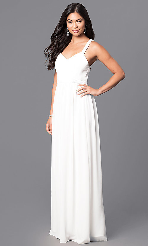 Image of v-neck long prom dress with multi-strap back. Style: MT-8058 Detail Image 1