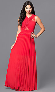 Long V-Neck Prom Dress with Pleated Skirt