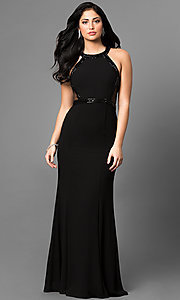 Long Prom Dress with Beaded Trim and Side Cut Outs