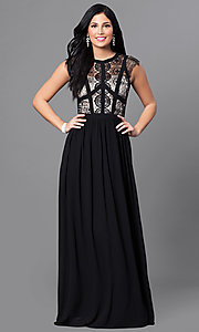 Long Lace-Bodice Prom Dress