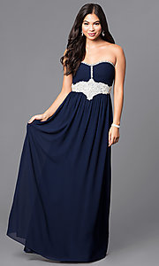 Navy Blue Empire-Waist Long Prom Dress