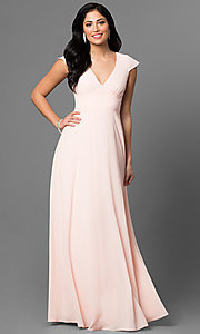 Image of v-neck long prom dress with flutter cap sleeves. Style: MT-7762 Detail Image 2