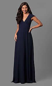 Image of v-neck long prom dress with flutter cap sleeves. Style: MT-7762 Detail Image 3