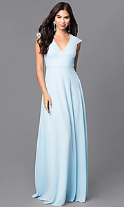 Image of v-neck long prom dress with flutter cap sleeves. Style: MT-7762 Front Image
