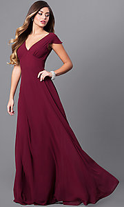 Image of v-neck long prom dress with flutter cap sleeves. Style: MT-7762 Detail Image 1