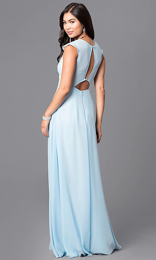 Image of v-neck long prom dress with flutter cap sleeves. Style: MT-7762 Back Image