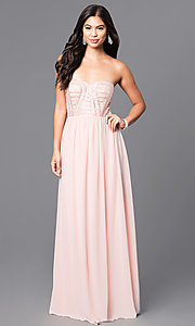 Pink Strapless Long Prom Dress