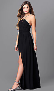 Image of black chiffon open-back prom dress with low v-neck. Style: MT-7808 Detail Image 1