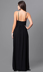 Image of black chiffon open-back prom dress with low v-neck. Style: MT-7808 Back Image