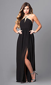Black Chiffon Open-Back Prom Dress with Low V-Neck
