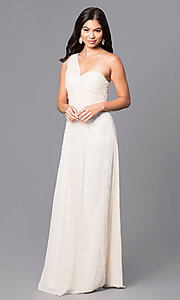 One Shoulder Long Ruched Bodice Prom Dress