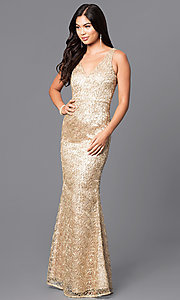 Image of v-neck long gold prom dress with sequins. Style: MT-8028 Front Image
