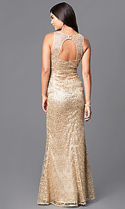Image of v-neck long gold prom dress with sequins. Style: MT-8028 Back Image