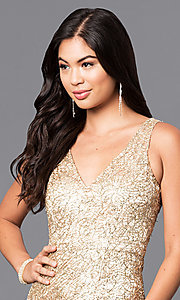 Image of v-neck long gold prom dress with sequins. Style: MT-8028 Detail Image 1