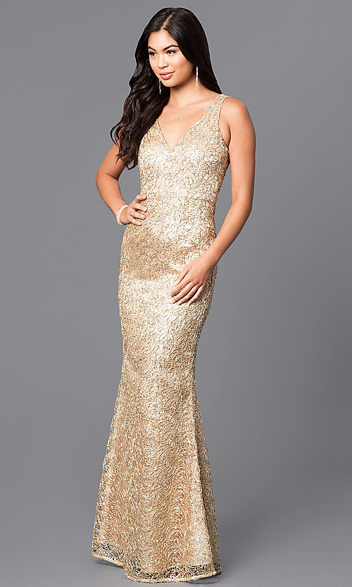Long Gold V-Neck Sequined Prom Dress - PromGirl