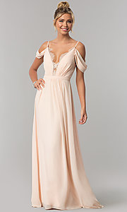 Image of long blush pink prom dress with draped cold shoulder. Style: MT-8227 Detail Image 2