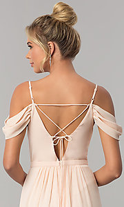 Image of long blush pink prom dress with draped cold shoulder. Style: MT-8227 Detail Image 3