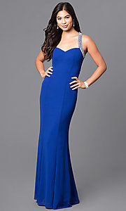 Sweetheart Long Blue Prom Dress with Jeweled Straps