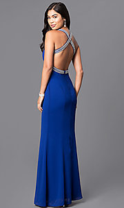 Image of sweetheart long blue prom dress with jeweled straps. Style: MT-7668 Back Image