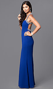 Image of sweetheart long blue prom dress with jeweled straps. Style: MT-7668 Detail Image 1