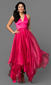 Handkerchief Hem Long V-Neck Prom Dress