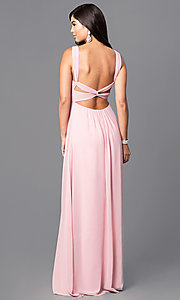 Image of long empire-waist prom dress with open back. Style: MT-8068 Back Image