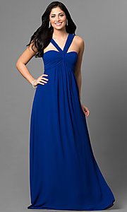 Long Empire-Waist Prom Dress with Open Back