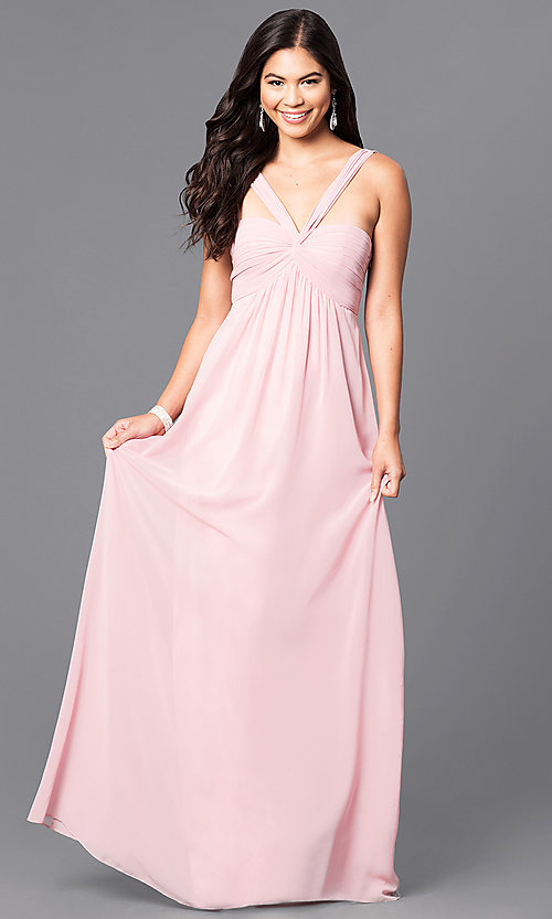 Image of long empire-waist prom dress with open back. Style: MT-8068 Detail Image 2