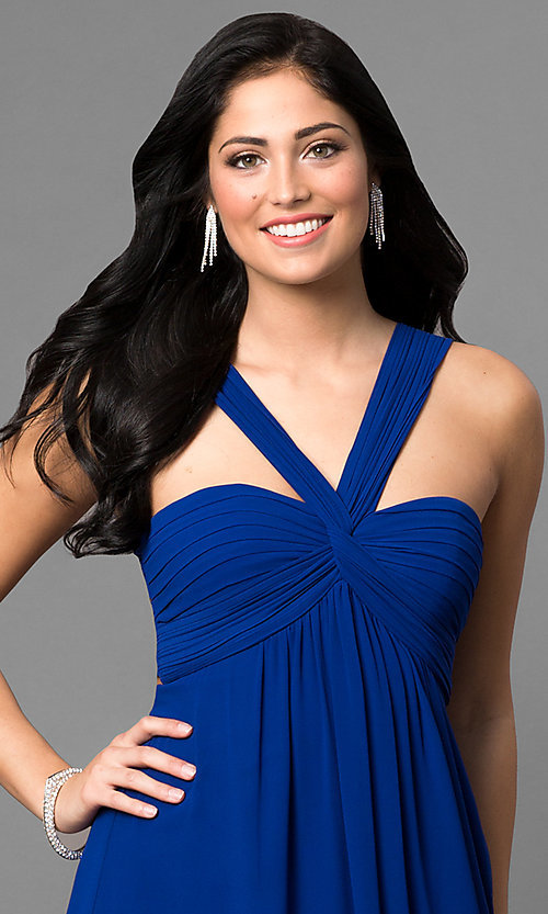 Image of long empire-waist prom dress with open back. Style: MT-8068 Detail Image 3