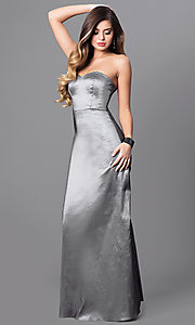 Long Strapless Taffeta Prom Gown