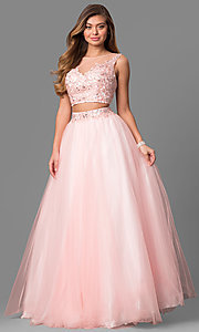 Tulle A-Line Long Alyce Two-Piece Prom Dress