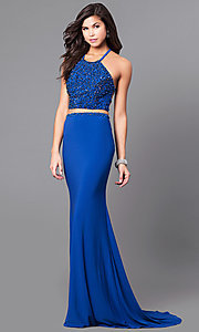 Image of long two-piece Alyce prom dress with beaded top. Style: AL-6809 Front Image