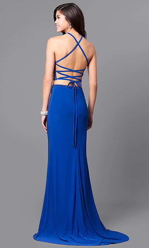 Image of long two-piece Alyce prom dress with beaded top. Style: AL-6809 Back Image