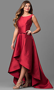Bateau Neck High Low Prom Dress by Alyce