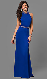 Image of long Alyce high-neck racerback prom dress. Style: AL-8007 Front Image