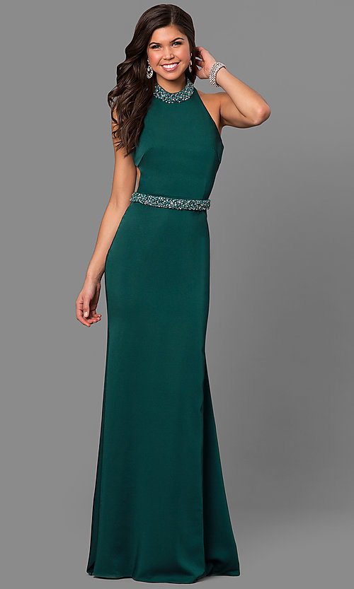 Image of long Alyce high-neck racerback prom dress. Style: AL-8007 Detail Image 1