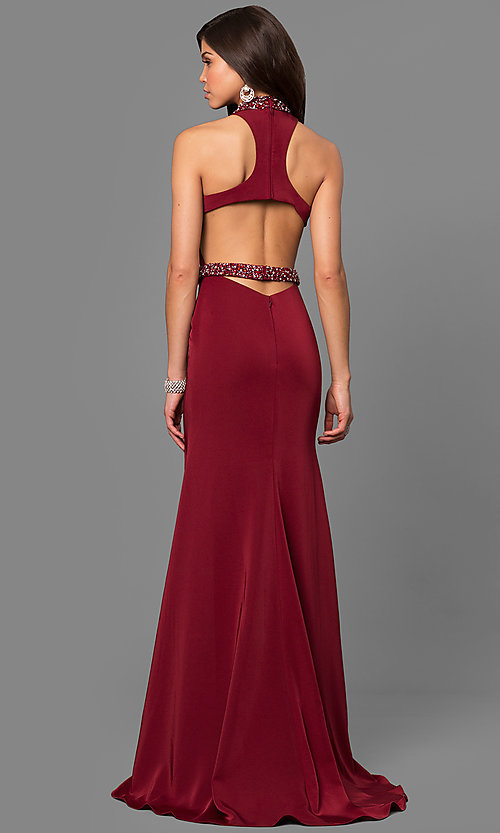 Image of long Alyce high-neck racerback prom dress. Style: AL-8007 Back Image